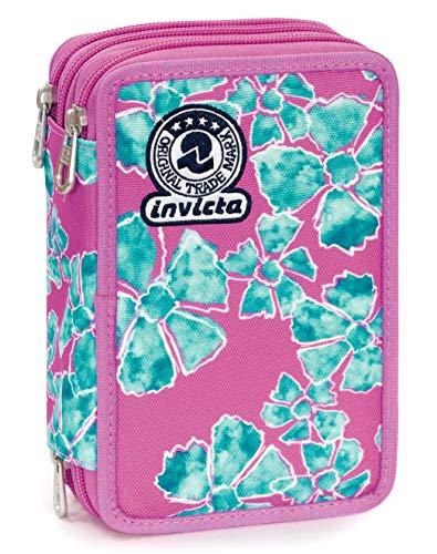 Astuccio 3 Zip Invicta Pansy, Rosa, Con materiale scolastico: 18 pennarelli Giotto Turbo Color, 18...