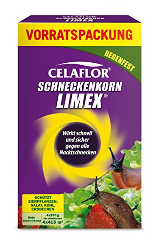 Celaflor Schneckenkorn Limex, anwendungsfertiges Ködergranulat zur Schneckenbekämpfung im Garten und Gewächshaus, Vorteilspack  4x 250g für 4x 415m²