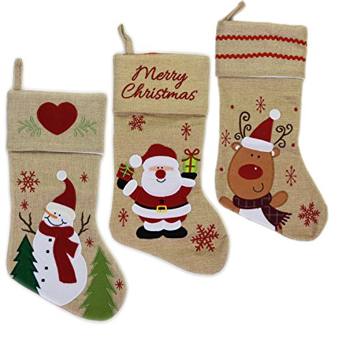 Set of 3 Large Jute Christmas Xmas Stockings Xmas Tree Reindeer Santa Decoration