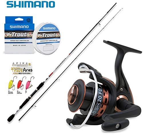 Kit Trout Area Special Price, Canna Spinning Rapid Freshwater + Mulinello Vigor Task FD 2000 + Tre Spoon Nomura Akira 2,0 Gr + MONOFILO Shimano Trout Competition 150MT