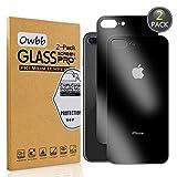 Owbb [2 Pezzi] Nero Posteriore Vetro Temperato Pellicola per iPhone 7 Plus/iPhone 8 Plus Smartphone Full Coverage Protettiva Protezione 9H Durezza