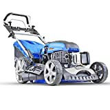 Hyundai 196 cc Self Propelled Electric Push Button Start Petrol Lawn Mower, Blue, 51cm Cut Start & Pull HYM510SPE