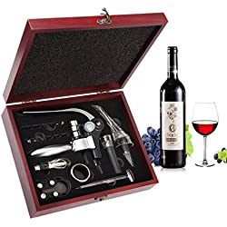 Set Apribottiglie,Smaier Cavatappi a Coniglio, Kit Accessori per vino, Set Regalo con Custodia in Legno