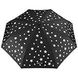 OMOTON Regenschirm mit automatischem Knopf, die Farbe wechseln bei Nässe Windfest, kompakte Design, 8 verstärkten Rippen, in kleine Sterne-Form, Schwarz