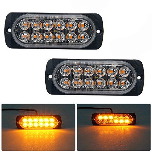 Emergenza luci stroboscopiche per camion, Maso ambra recupero auto 6LED illuminazione bar arancione grill Breakdown lampeggiante 12/24V, confezione da 2
