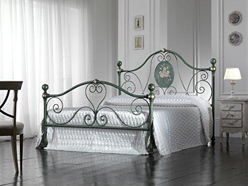 Bed Store Letto Matrimoniale in Ferro BATTUTO Modello Caterina Verde