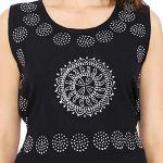 Urban Fab 100% Cotton Block Print Black Maxi Dress for Women