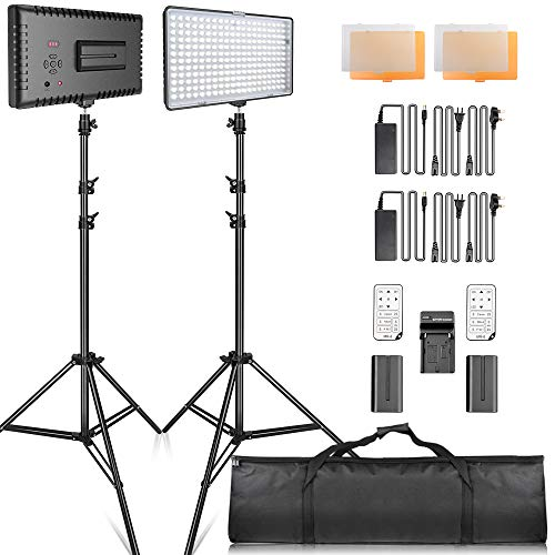SAMTIAN Kit di Illuminazione Pannello, Kit Luce Led Video 240 pezzi 3200 / 5600K Led Studio Lighting...