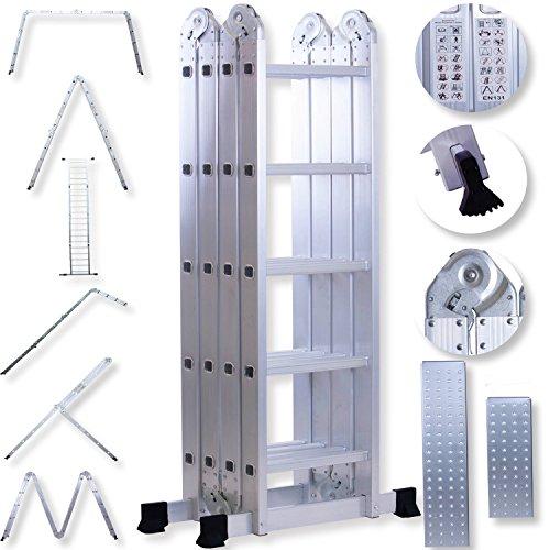 Masko 6in1 Mehrzweckleiter 5.56M ALU Anlegeleiter Klappleiter Stehleiter Aluminium Modell: 4 x 5...
