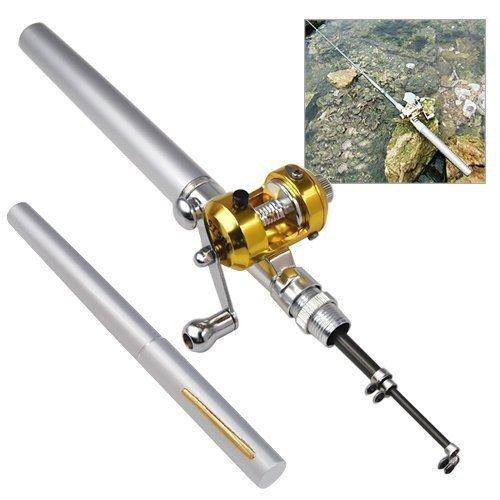 Accessotech Mini Argento Tascabile Canna Da Pesca & Golden Mulinello Penna Forma 93cm Da Viaggio S