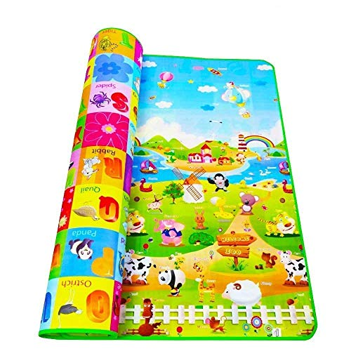 TECHSUN Waterproof Double Side Baby Play Crawl Floor Mat for Kids Picnic School Home (Large Size - 6 X 4 ft, Multicolour) with Zip Bag to Carry