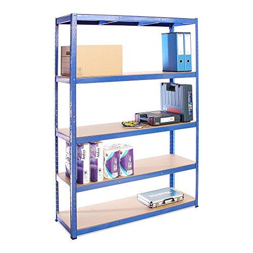 Scaffale per Garage - Scaffalatura - 180cm x 120cm x 40cm - Blu - 5 Ripiani (175Kg a ripiano) -...