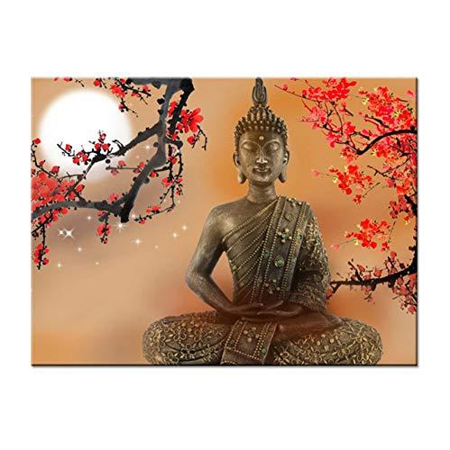 WACYDSD Puzzle 1000 Pezzi Puzzle 3D Living Room Wall Art Fiori E Buddha Zen Immagini Hdbuddhism...
