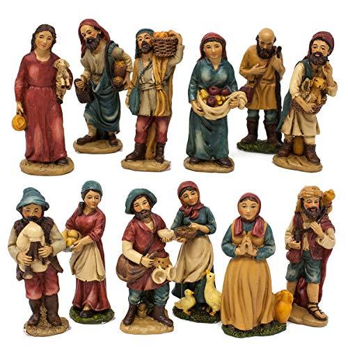 Joy Christmas Pastori in Resina 10 cm per Presepe Set 12 Pezzi - 46001