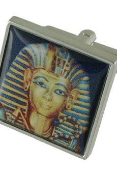 Boy King Egipto funda pesada sólida plata de ley 925gemelos + caja de regalo Gemelos de mensaje, personalizable