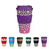 BIOZOYG Colorful coffee to go cup I reusable coffee cup with silicone lid and silicone cup sleeve I dishwasher-proof BPA-free I coffee drinking cup Stargrape 400 ml