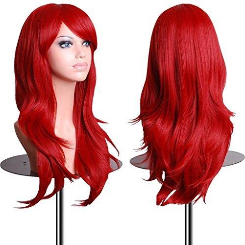 EmaxDesign Peluca de mujer de 70 cm de longitud Melena larga y con volumen, de estilo ondulado y resistente al calor, incluye rejilla para el pelo y peine para peluca, color rojo
