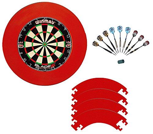 Winmau Blade 5 mit 9 McDart Steeldarts und rotem Catchring