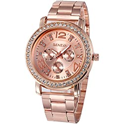 Geneva Platinum Big Size Rose Gold Analogue Watch For Women - GP-381