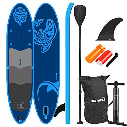 Nemaxx PB330 Sup Stand up Paddle Board - aufblasbare Sup-Boards - mit Transportrucksack, Alu-Paddel, Hochdruck Luftpumpe, Repair Kit + (je Nach Modell mit Fuß-Leine)