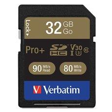 Verbatim Sdhc-Tarjeta De 32 GB, Pro +, Clase 10, U3, Uhs-I (R) 90 MB/S 600X, (W) De 80 MB/S 533X, Ampolla Al por Menor