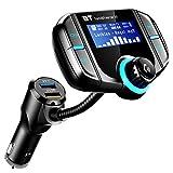 Transmisor FM Bluetooth Coche, ICOUVA Transmisor FM Adaptador de radio inalámbrico Manos libres Car Kit Cargador rápido QC3.0 universal Puerto USB dual MP3 para dispositivos iOS y Android