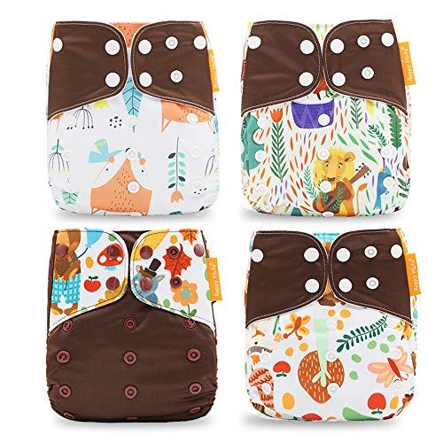 Pocket - Set di 4 pannolini e 4 inserti in microfibra, taglia unica, 5-15 kg, colore: blu