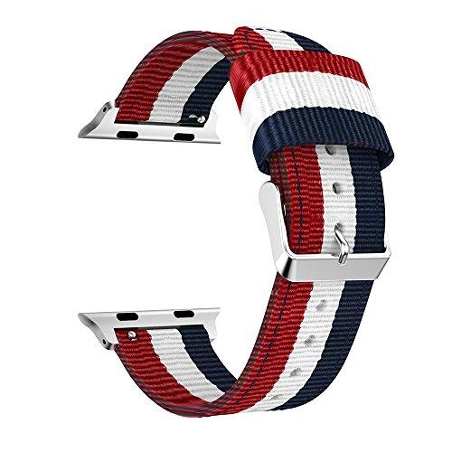 XIHAMA Cinturino di Ricambio Compatibile con Apple Watch Series 5 4 3 2 1, Nylon Cinturini Orologio Braccialetto per iWatch 44mm 40mm 38mm 42mm (38mm / 40mm, Blue/White/Red)