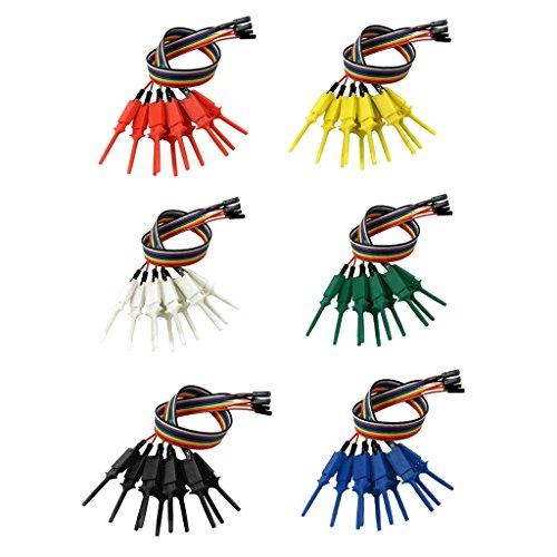 FITYLE 6x 10 canales de Alambre con Azadas para Analizador lógico Clips de Gancho de Prueba Multicolor