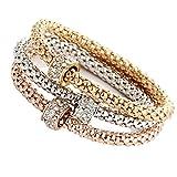 3Pcs Luxury Bracelet Gold Silver Rose Gold Rhinestone Bangle Jewelry (Round)