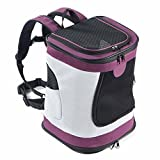 Mochila Perro Gato Pequeños Resistente Backpack Plegable Transportín Portatil para Viaje Trekking Moto Avión Entrenar con Mascota Peso de hasta 6.5 kg (Púrpura)