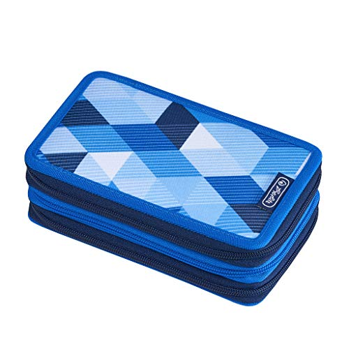 Herlitz Triple Etui Astuccio, 19 cm, Blu (Blau)