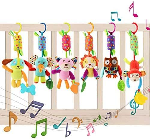 YIKANWEN Baby Kinderwagen Spielzeug , 6 Teile Plüschtier mit Glöckchen, Rassel-Figuren zum Aufhängen für Bettchen, Wiege oder Autositz , Lernspielzeug für Neugeborene und Kleinkinder