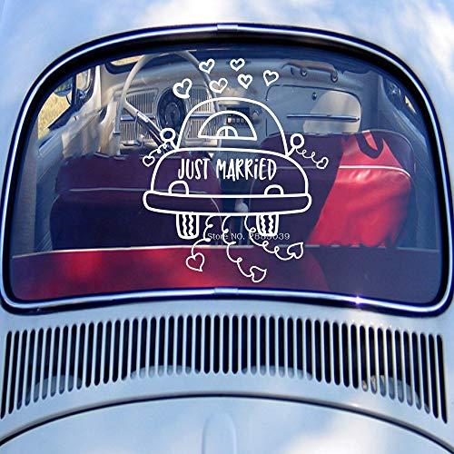 Modeganqingg Cartoon Astratto Just Married Pattern Applique Decorazione per Auto Matrimonio Sticker...