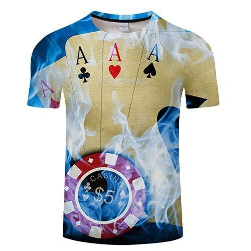 XMDNYE Camiseta de Manga Corta con Estampado de póker de Verano para Hombre Cerveza Camiseta Impresa 3D Camiseta Casual Transpirable + Camiseta tamaño