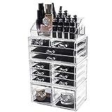 D4P Display4top Caja acrílica Estante de maquillajes Maquillaje Cosméticos Joyería Organizador (12 Drawers Transparente)