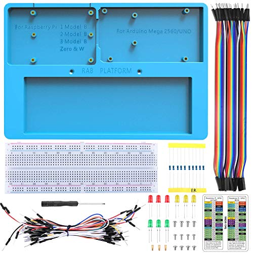 UNIROI 14 in 1 Breadboard Kit with RAB Holder for Arduino UNOR3, Mega 2560 & Raspberry Pi 3 Model B, 2 Model B,1 Model B+ RPI Zero W And Zero (UA032)