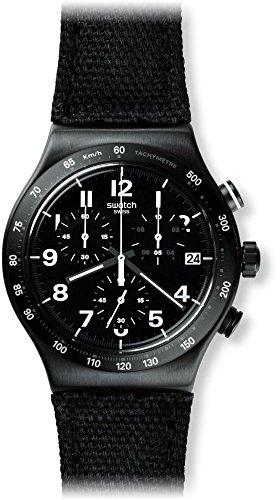 Swatch Herren Chronograph Quarz Uhr mit Leder Armband YVB402