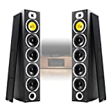 Fenton Pair of Floor Standing HiFi Speakers Tower Columns Home Stereo Audio 600w Black Wood 4x 6.5 inch Woofer Drivers