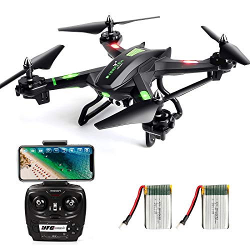 LBLA FPV Drone con WiFi Telecamera Live Video Headless Mode 2.4 GHz 4 CH 6 Axis Gyro RC Quadcopter, Compatibile con Due Batterie