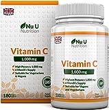 Vitamina C 1000 mg | 180 compresse (Fornitura Per 6 Mesi) | Integratori alimentari Nu U Nutrition