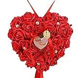 dragonaur rosa a forma di cuore perle finte dito anello box contenitore proporre matrimonio di, Red, taglia unica