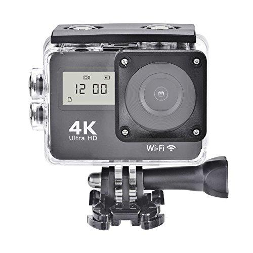 4K Action Camera Wi-Fi , Sport Action Camera con Dual Screen - videocamera Full HD 1080P Telecamera impermeabile 12MP - Schermo LCD da 2 pollici Angolo di visione ampio 170 gradi, Telecomando, Nero