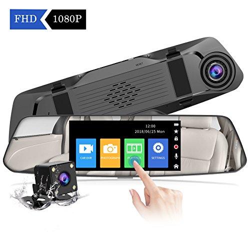 【2019 Nuova Versione】 CHORTAU Telecamera per Auto da 4,8 pollici Touchscreen Full HD 1080P Grandangolare, Telecamera Posteriore impermeabile, Dashcam con Sistema di Monitoraggio Inverso