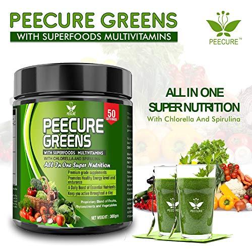 Peecure Superfood Herbs Green Food Multivitamin Powder with Chlorella, Spirulina,Green tea extract, Grass powder, Moringa,Flax seed,Buckwheat powder 300g