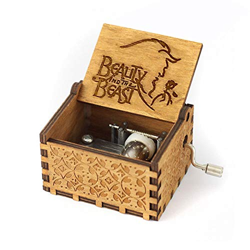 Windup Beauty & The Beast Theme Wooden Music Box - in Gift Jute Pouch - Antique Curved Hand Crank