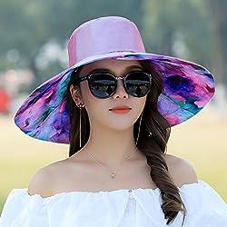 Hat, Summer Sun Hat, Folding Outdoor Beach, Beach Hat, Sun Hat, Big Edge,Violet