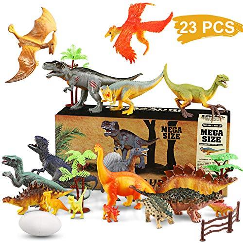 WOSTOO Juego de Dinosaurios, Figura de Dinosaurio 17 Piezas Juguete Dinosaurio & 6 Piezas Huevos de Dinosaurio con Plantas Regalo para Chicos Niños