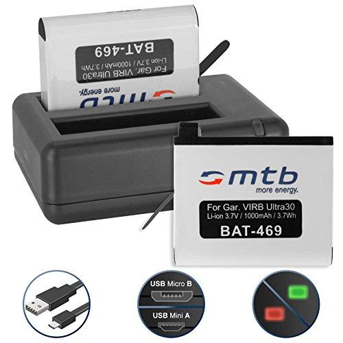 2 Batterie + Caricabatteria doppio (USB) per Garmin Virb Ultra 30 Action Cam [1000 mAh - 3.7V - Li-Ion] - Cavo USB micro incluso