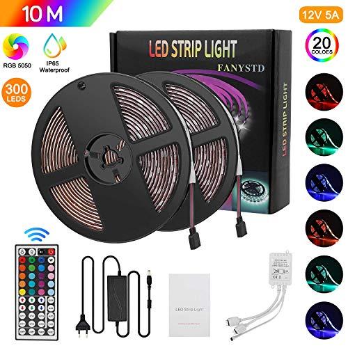 10M Striscia LED 5050 RGB, Nastri LED con 300 LEDs, Impermeabile IP65, Alimentatore5A 12V, Telecomando a 44 Tasti Autoadesiva LED Strisce[Classe di efficienza energetica A+++]